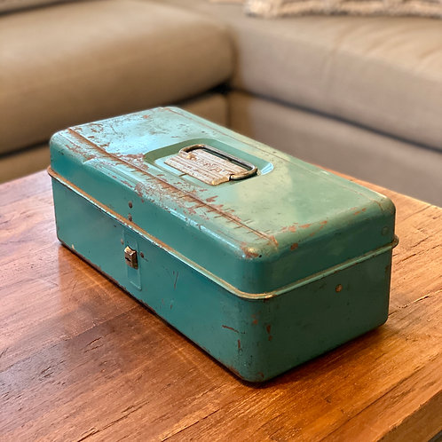 Vintage Mint Green Metal Toolbox