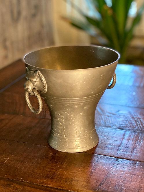 Antique Solid Pewter Lion Vase