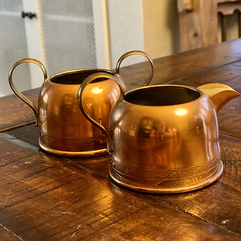 Pair of Copper Sugar and Creamer