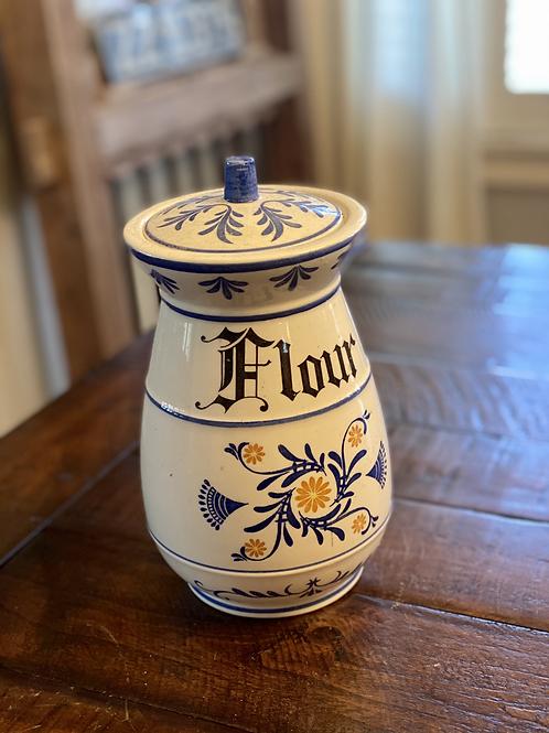Antique Handpainted Flour Canister