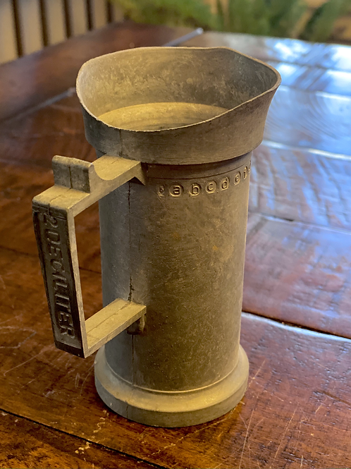 Antique 2 Deciliter Pewter Measuring Cup