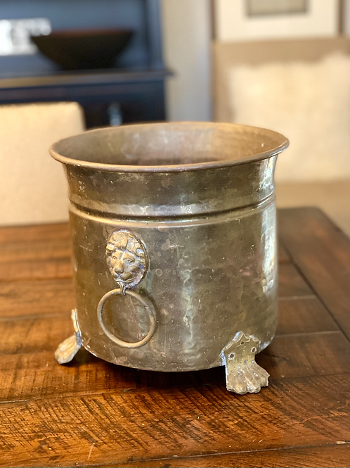 Antique Solid Brass Footed Cauldron