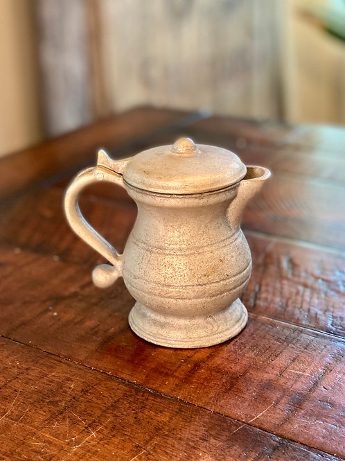 Antique Solid Pewter Hinged Creamer