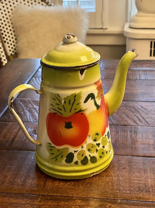 Vintage Enamel Hand-painted Kettle
