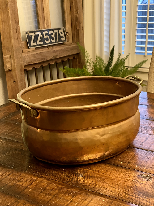 Large Oval Hammered Copper Vessel