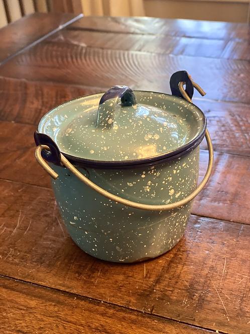 Vintage Blue Speckled Enamel Pail