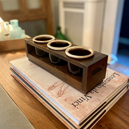 Midcentury Wood Condiment Holder w Crocks