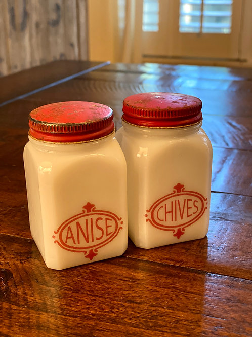 Pair of Vintage Milkglass Spice Jars
