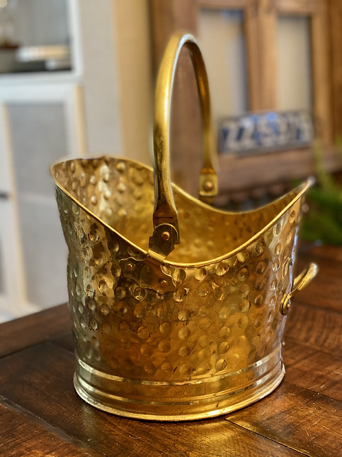 Antique Hammered Brass Coal Scuttle