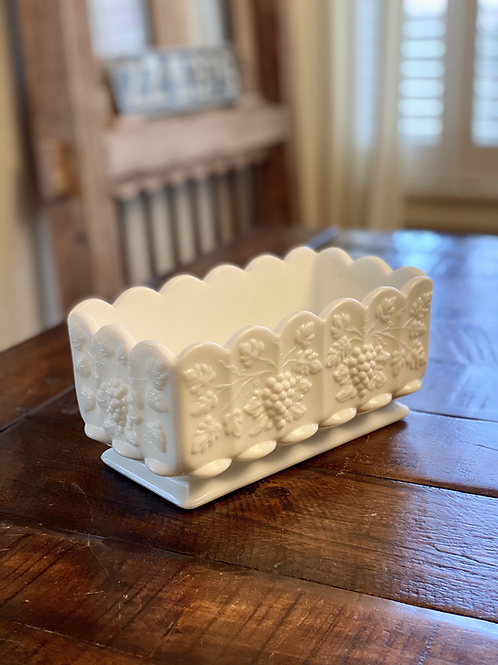 Antique Footed Scalloped Milkglass Planter