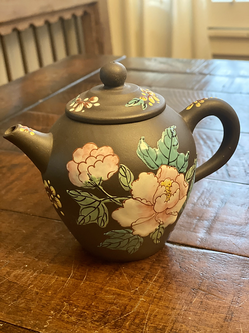 Vintage Asian Brown Floral Clay Teapot