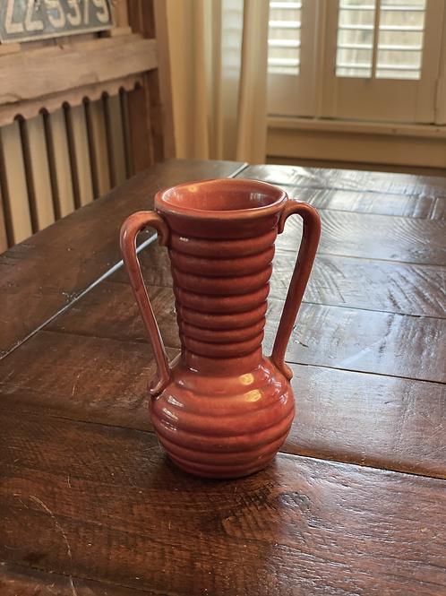 Vintage Ribbed Ceramic Vase