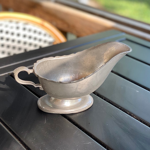 Antique Solid Pewter Gravy Boat