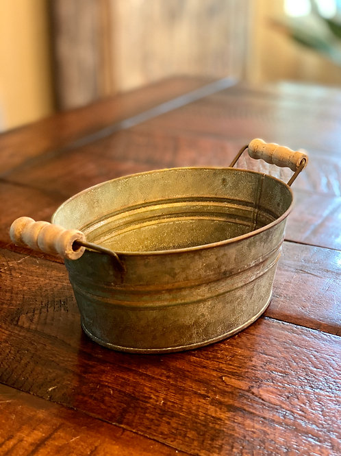Vintage Oval Tin Basket