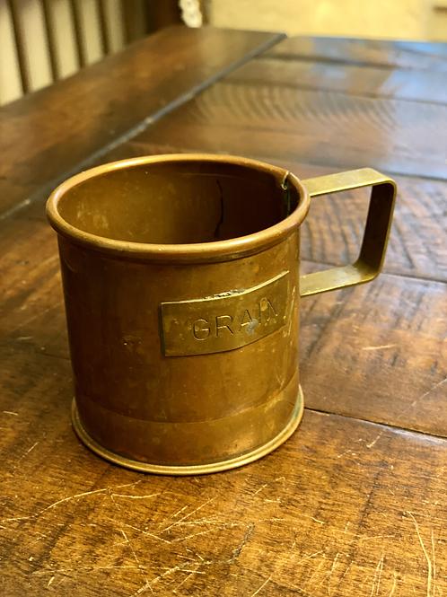 Antique Mini Solid Copper Grain Cup
