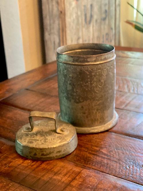 Antique Embossed Metal Vessel