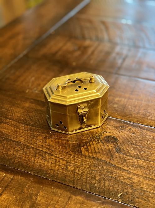 Antique Mini Octogan Brass Cricket Box