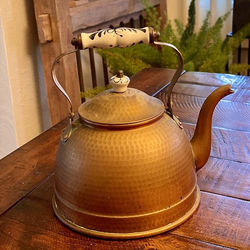Antique Copper Hammered Kettle