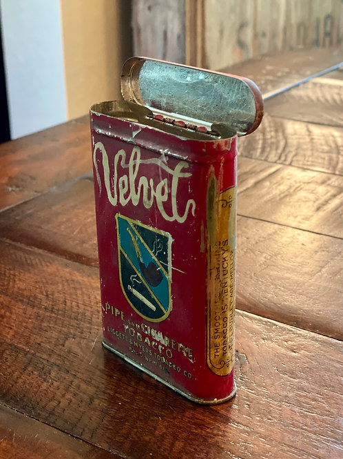 Vintage Velvet Hinged Tin
