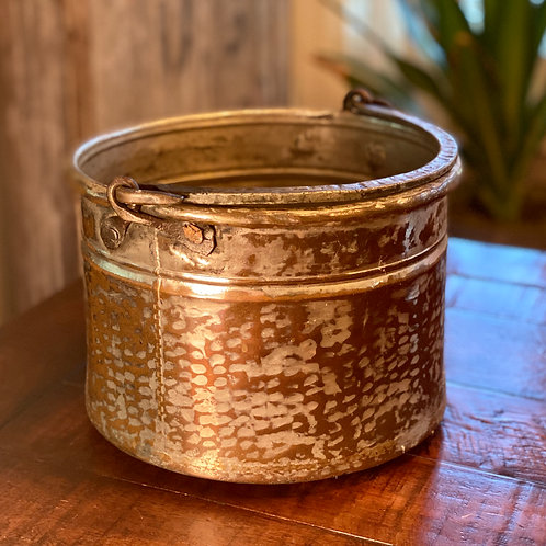 Antique Large Copper and Silver Cauldron