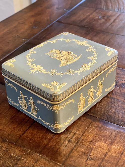 Vintage Periwinkle Lidded Tin