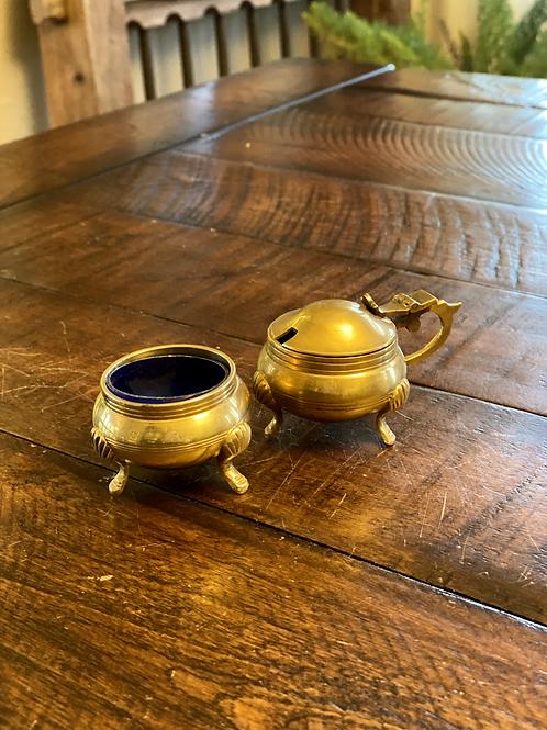Pair of Antique Brass Salt & Pepper Vessels
