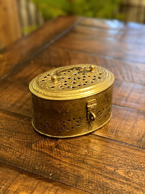 Antique Medium Oval Brass Cricket Box