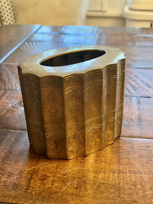 Antique Solid Brass Etched Planter