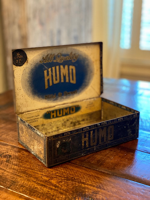 Antique Humo Hinged Cigar Tin