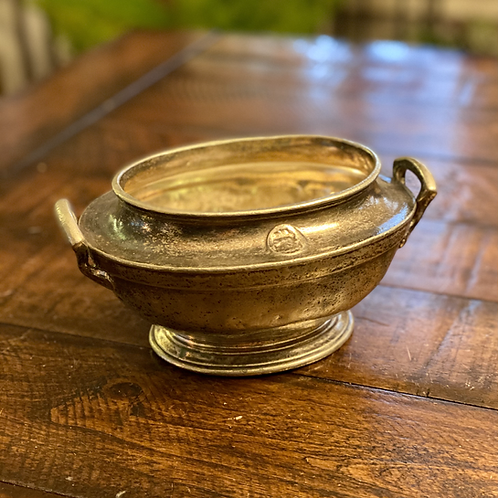 Antique Solid Pewter Gravy Bowl