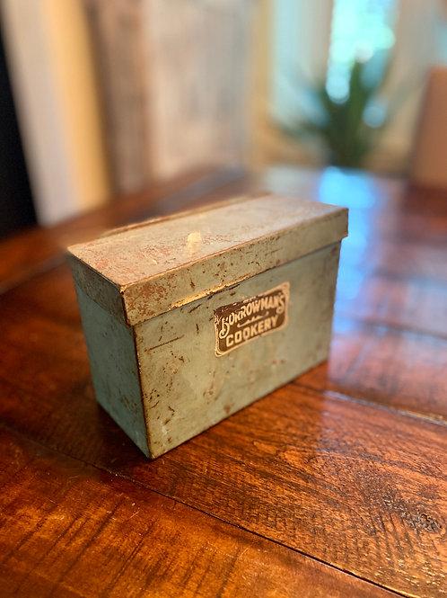 Antique Borrowman's Metal Recipe Box