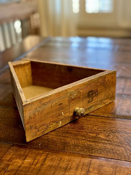 Antique Triangular Wood Tool Drawer