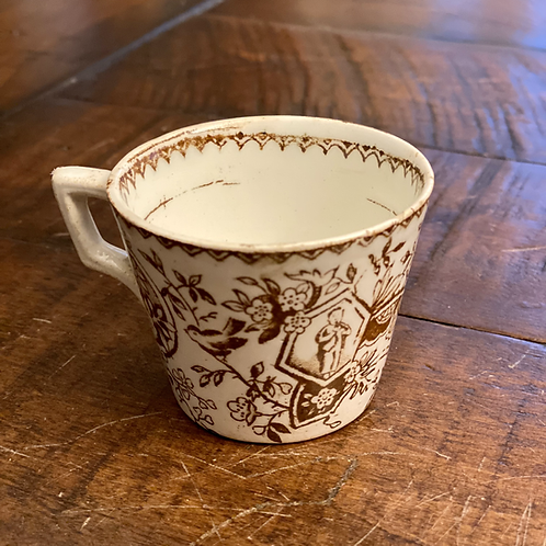 Antique Brown and White Baby Cup