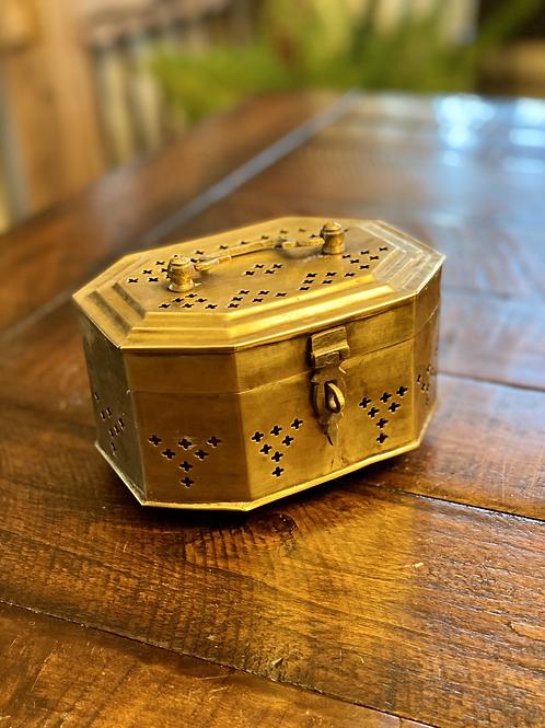 Antique Medium Octogan Brass Cricket Box