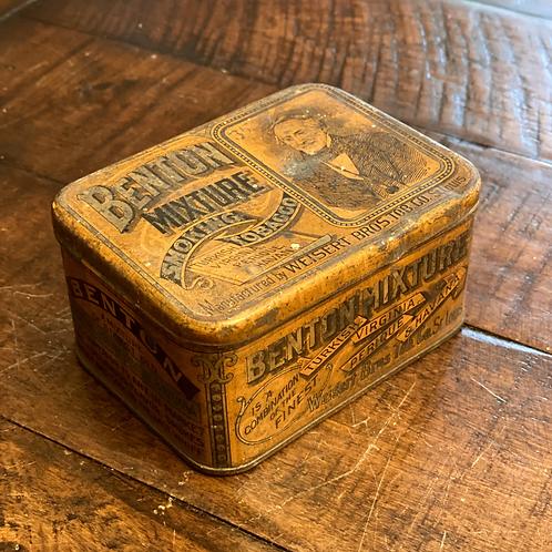 RARE Benton Hinged Tobacco Tin