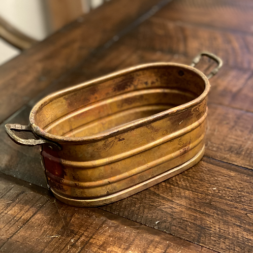Antique Solid Copper Ribbed Handled Bowl