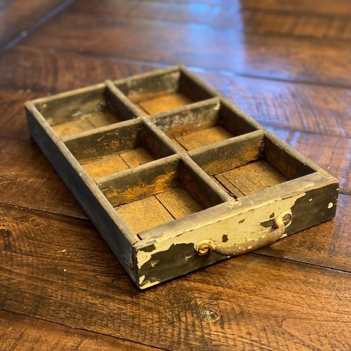 Vintage 6-Cubbie Distressed Wood Drawer