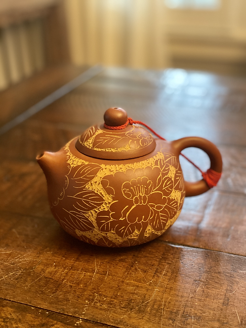 Vintage Asian Floral Red Clay Teapot