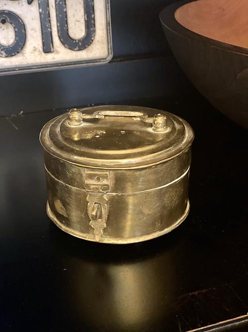 Antique Round Brass Cricket Box