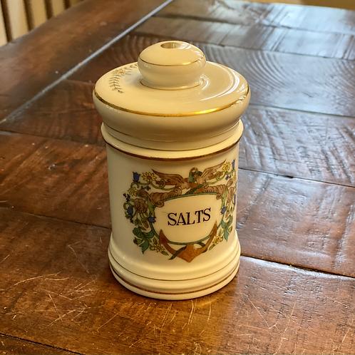 Antique Apothecary Ceramic SALTS Jar