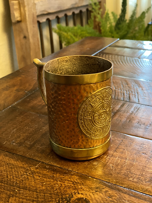 Antique Hammered Copper and Brass Sundial Cup