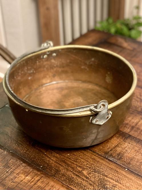 Large Antique Solid Copper Handled Pot