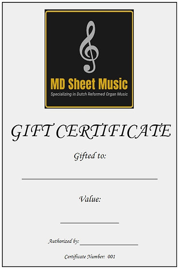 MD Sheet Music Gift Certificate