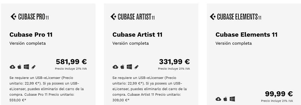 Precios Cubase 11