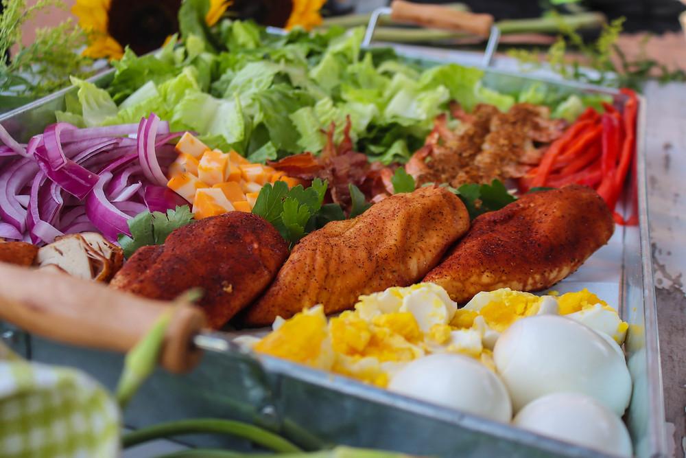 deconstructed chicken cobb salad. chicken cobb salad