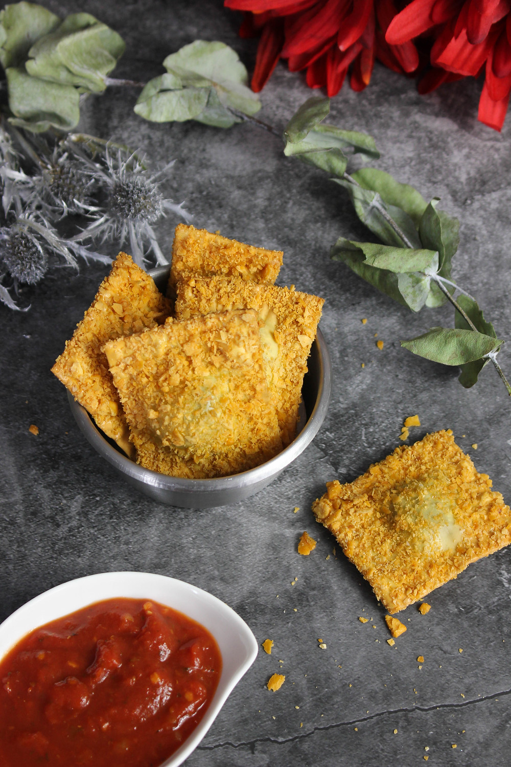 Fire Roasted RAvioli Chips. Gameday Food. Smoked Appetizers