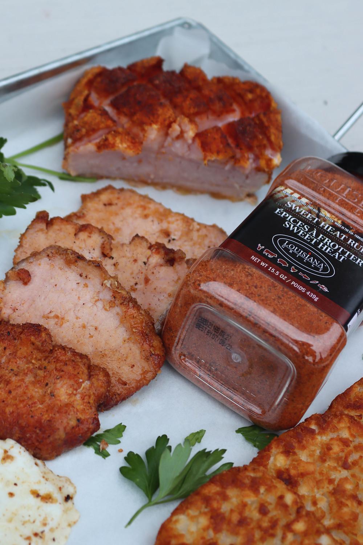Peameal Bacon Roast. Peameal Bacon on BBQ.
