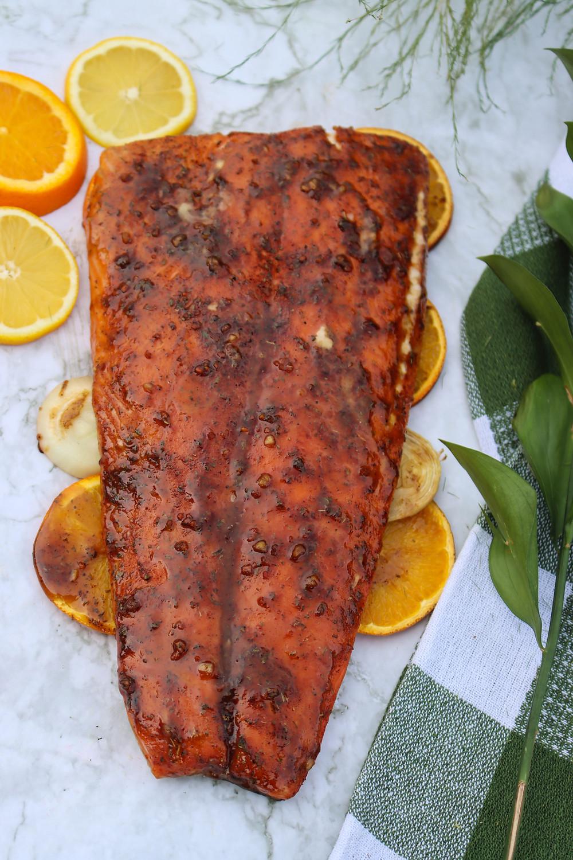 Smoked Salmon. Salmon on BBQ. Maple Glazed Salmon