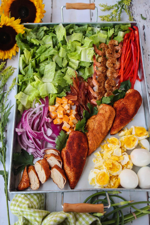 Deconstructed Chicken Cobb Salad. Chicken Cobb Salad.