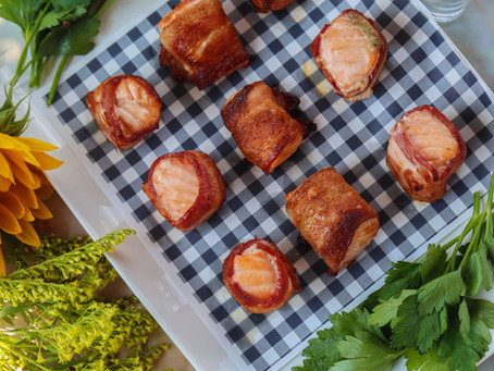Bacon Salmon Poppables | Air Fryer Bacon Wrapped Salmon | Living Basics Air Fryer